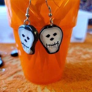 Little Skeleton Skull Pair of Earrings Handmade!